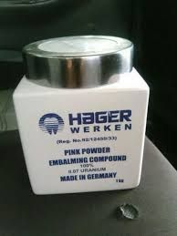 Hager & Werken embalming products available in Johannesburg south africa +27780818062  Embalming is the art and science of preserving human remains by treating them (in its modern form with chemicals) to forestall decomposition. The intention is to keep them suitable for public display at a funeral, for religious reasons, or for medical and scientific purposes such as their use as anatomical specimens.[1] The three goals of embalming are sanitization, presentation and preservation (or restoration). Embalming has a very long and cross-cultural history, with many cultures giving the embalming processes a greater religious meaning. specific uses are: sanitization, presentation and preservation (or restoration). types the typses of embraming powder is dependant on the purity and colour. Purity:98% ,100% Hot Compound Origin:Germany Brand:Hager Werken PURITY ON COLOUR. pink 98% white 100% Distributor Dentist / Dental Technician Hager & Werken products are sold through the dental trade worldwide. Please contact your local dental dealer. End consumer Please contact your pharmacist or dentist. Dealers If you are not currently a Hager & Werken Customer please contact our Customer Service Distributor direct in south africa or germany embalming666powder@gmail.com   call+27780818062   http://www.embalmingpowdersuppliers.webs.com/